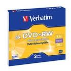 Диски DVD+RW Verbatim 4.7Gb 4x Slim case (3шт) (43636)