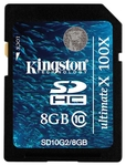 Карта памяти Kingston 8 gb, class 10 (SD10G2/8GB)