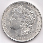 Монета 1 доллар 1921 год США (Моргановский доллар) серебро