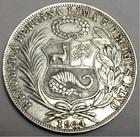 Монета 1 соль 1934 год Перу (серебро)