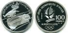 Монета 100 франков 1990 г Франция (XVI зимние Олимпийские Игры, Альбервиль 1992 - Бобслей) серебро