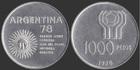Монета 1000 песо 1978 г Аргентина (Чемпионат мира по футболу) серебро