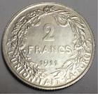 Монета 2 франка 1911 год Бельгия серебро