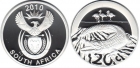 Монета 20 центов 2010 год ЮАР (Крокодил) серебро