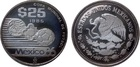 Монета 25 песо 1985 год Мексика (Чемпионат мира по футболу 1986 года) серебро