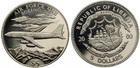 Монета 5 долларов 2000 год Либерия (Боинг 707)