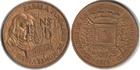 Монета 5 новых песо 1976 год Уругвай (250 лет со дня основания Монтевидео)