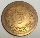 Монета 5 сентаво 1920 год Мексика