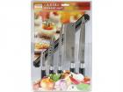 Набор Borner Asia 571013, 5 ножей и магнитный держатель, чёрный/серебристый